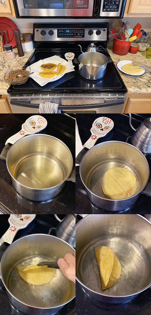 Step-by-step photos for how to make crispy taco shells