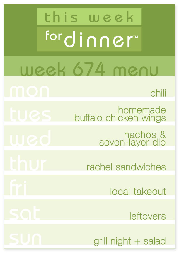 Week 674 Weekly Dinner Menu