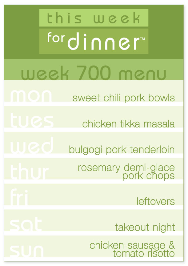 Week 700 Weekly Dinner Menu Plan from This Week for Dinner