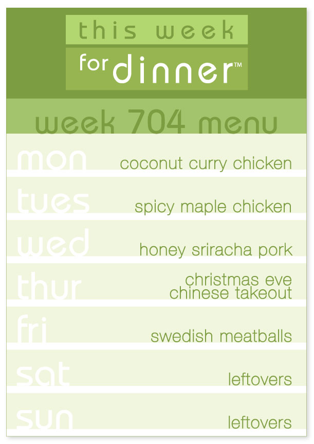 Week 704 Weekly Dinner Menu