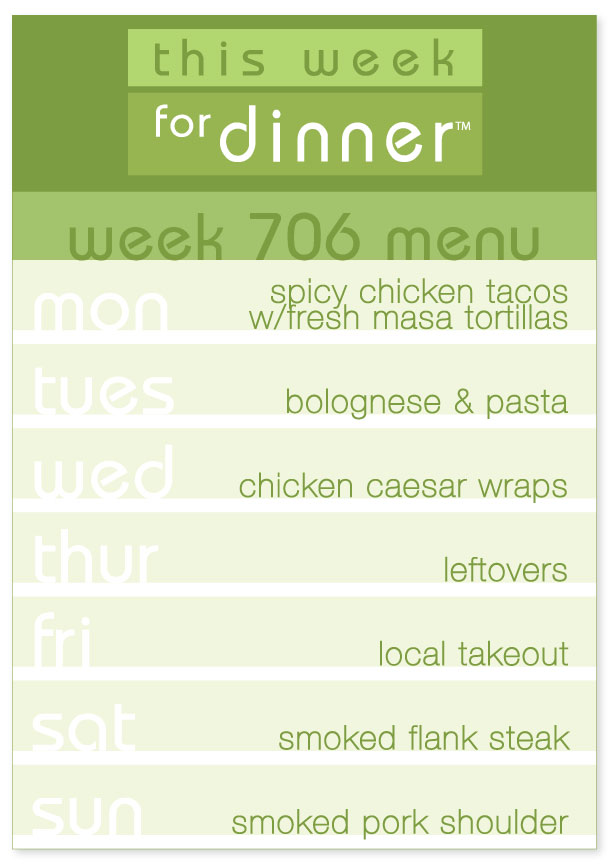 Week 706 Weekly Dinner Menu