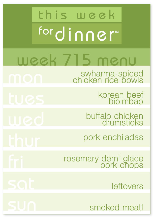 Week 715 Weekly DInner Menu