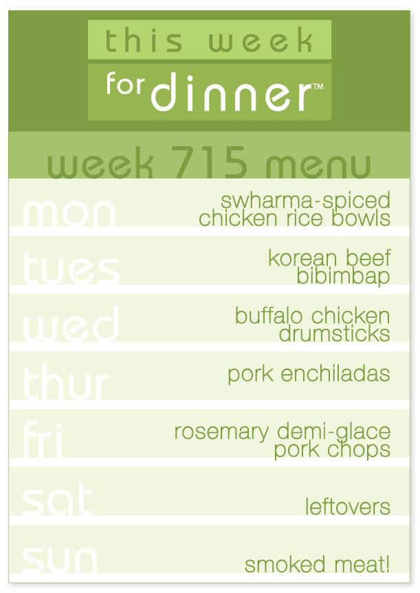 Week 715 Weekly DInner Menu