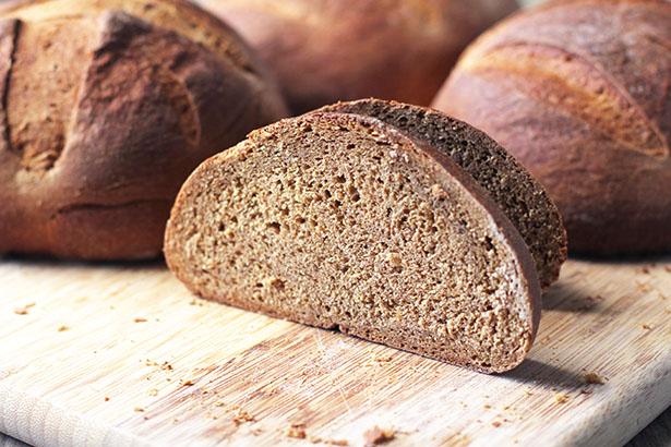 Swedish Limpa Bread cut in half to show texture of bread