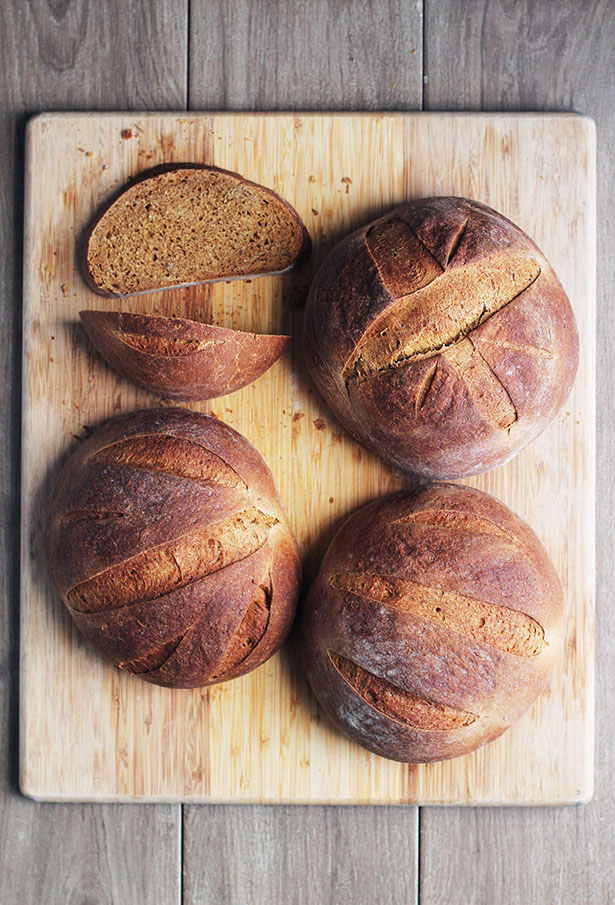Top view of loaves of Swedish Limpa bred