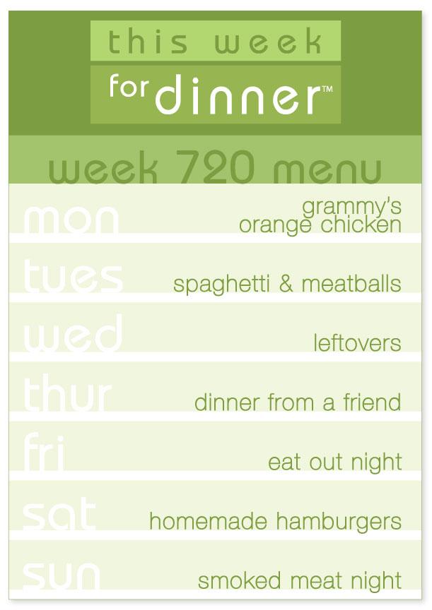 Week 720 Weekly Menu from This Week for Dinner