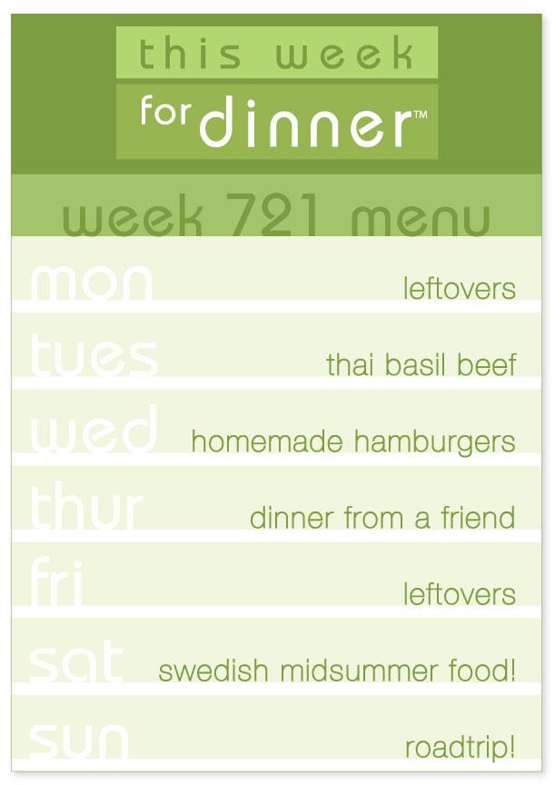 Week 721 Weekly Dinner Menu