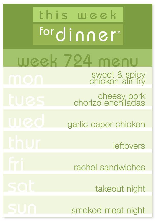 Week 724 Weekly Dinner Menu