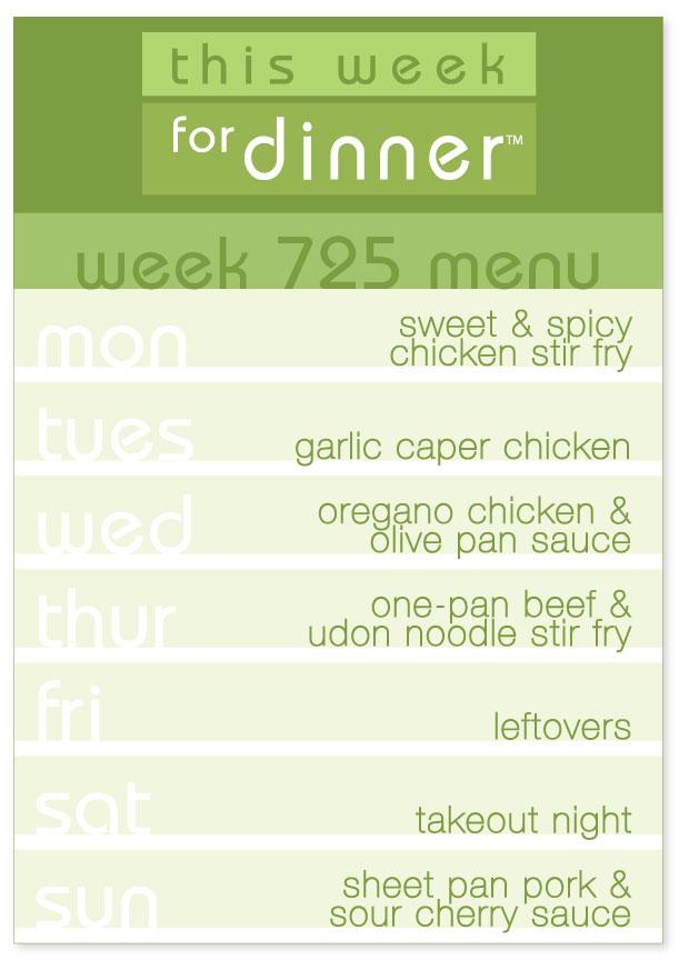 Week 725 Weekly Dinner Menu Plan