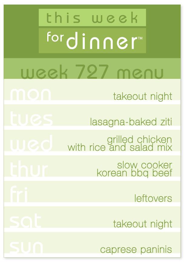 Week 727 Weekly Menu from This Week for Dinner